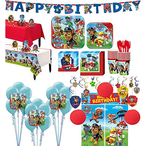Party City Paw Patrol Tableware Ultimate Kit and Supplies for 16 Guests, Includes Table Covers, Photo Props, Balloons