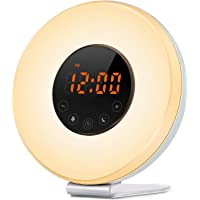 HONXEE L6 Wake up Light Alarm Clock Atmosphere Lamp with Sunrise and Sunset Simulation, 10 Brightness, Snooze Function, FM Radio, 7 Colors Moods Lights Changing for Bedroom, Living Room, Nursery (L6)