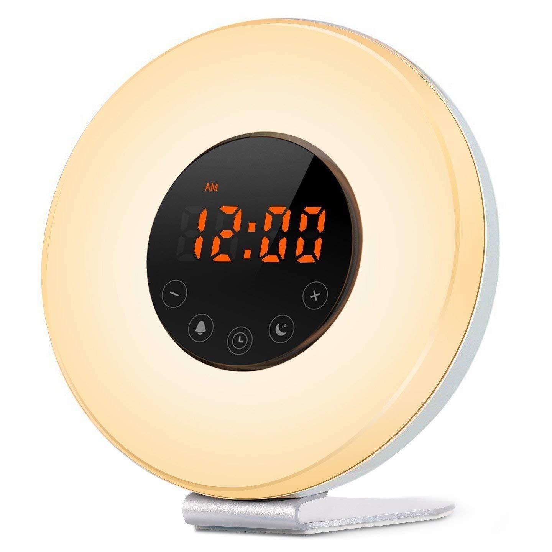 IREALIST Sunrise Simulation Wake-Up Light Digital Alarm Clock with 6 Natural Sounds, Optional RGB LED Night Lamp Brightness Customizable, FM Radio, Snooze Function