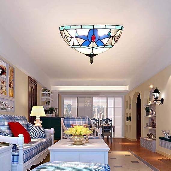 Amazon.com: Lámpara de techo estilo Tiffany, de cristal ...