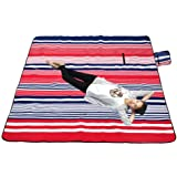 XXX-Large Outdoor Picnic Blanket with Waterproof Backing - 200 x 200 cm Beach Rug Mat - Folding and Portable Perfect for Beach, Travel, Festival, Camping - Red & Blue Stripe