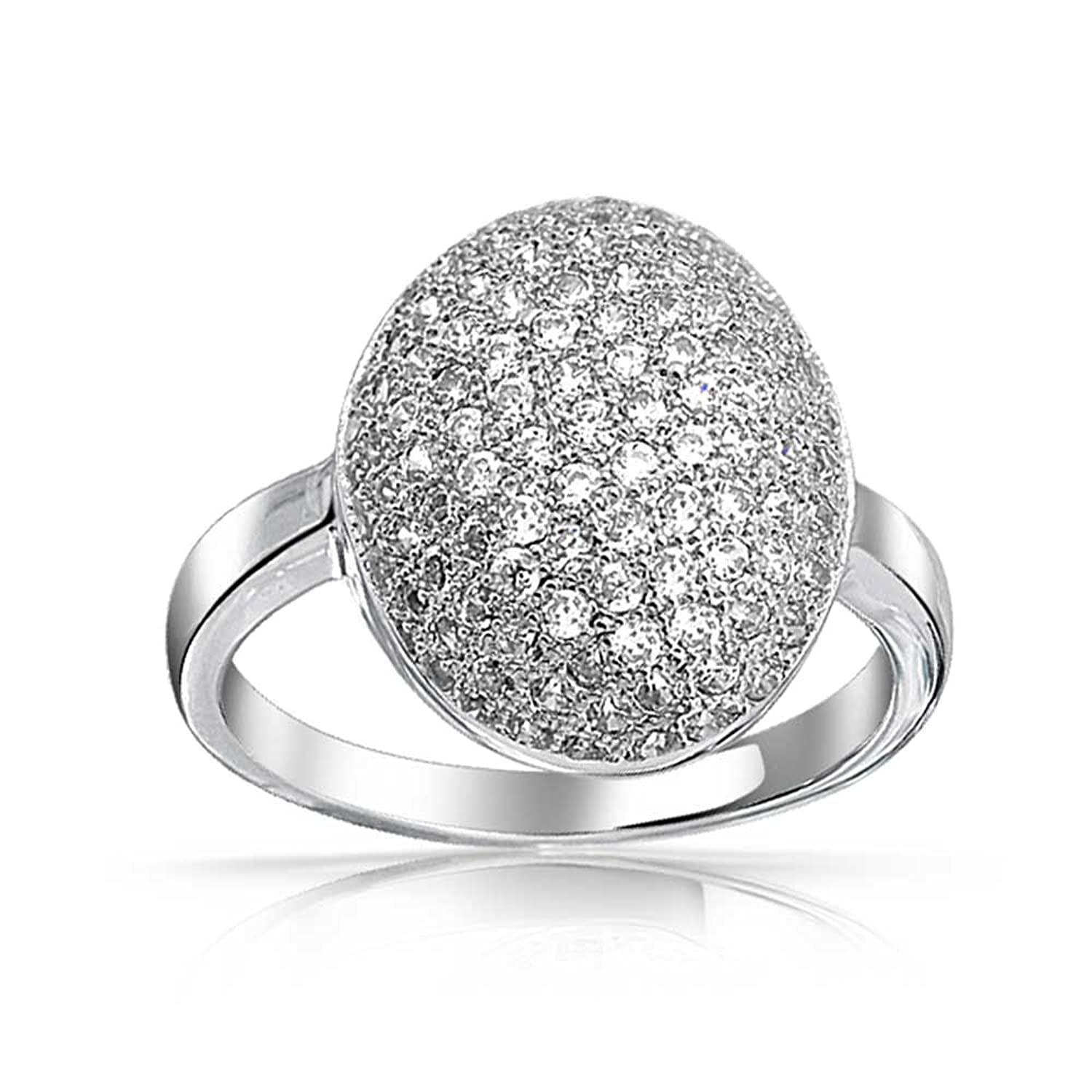 Amazon: Bling Jewelry Pave Oval Cz Sparkle Engagement Ring Rhodium  Plated: Bella S Engagement Ring: Jewelry