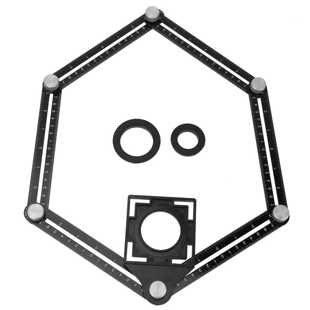 Regla de /ángulo de seis pliegues Medici/ón de /ángulo m/últiple Regla de plegado Herramienta de plantilla de /ángulo de metal con posicionador de orificios//Localizador de gu/ía de broca//Localizador