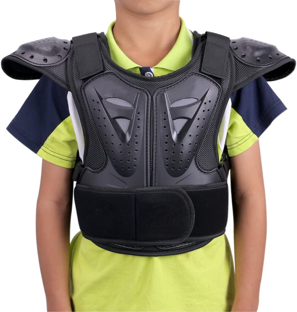 Black S WINGOFFLY Kids Chest Spine Protector Body Armor Vest Protective Gear for Dirt Bike Motocross Snowboarding Skiing