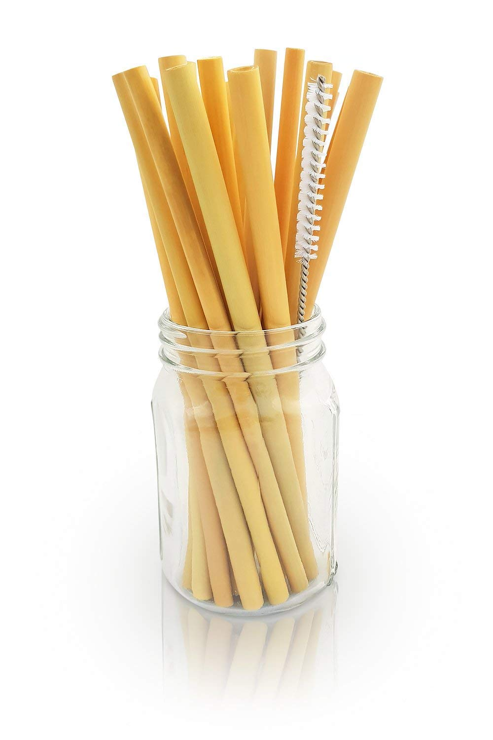 Organic Bamboo Drinking Straws Eco-friendly Sustainable Reusable Handcrafted Natural Washable Straws Plastic Straw Alternative Biodegradable Including Straw Cleaning Brush
