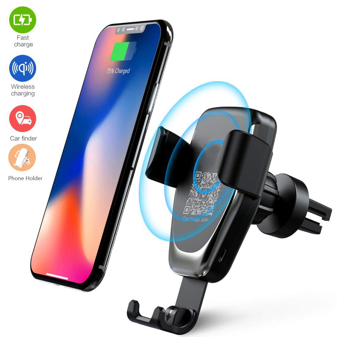 mumu Wireless Car Charger, QC3 0 Fast Wireless Charger Car