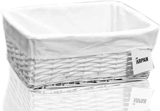 ARPAN - Cesta de Almacenamiento, de Mimbre, Cesta de Regalo, con Forro de Tela Blanca, tamaño Mediano, Color Blanco: Amazon.es: Hogar