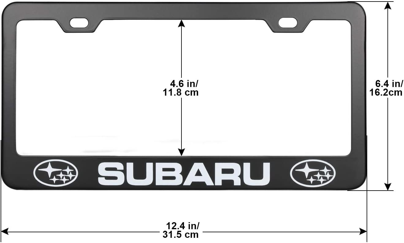 2PSC License Plate Frames For Subaru Black Stainless Steel Car Licence Plate Covers with Black Screw Caps for US Standard