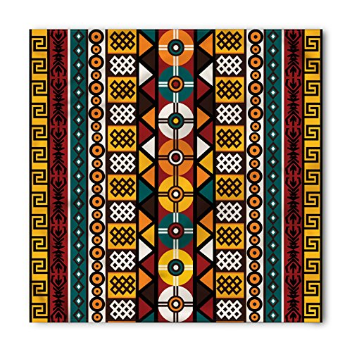 Ambesonne Unisex Bandana, Kente Pattern Primitive Borders, Burgundy Yellow