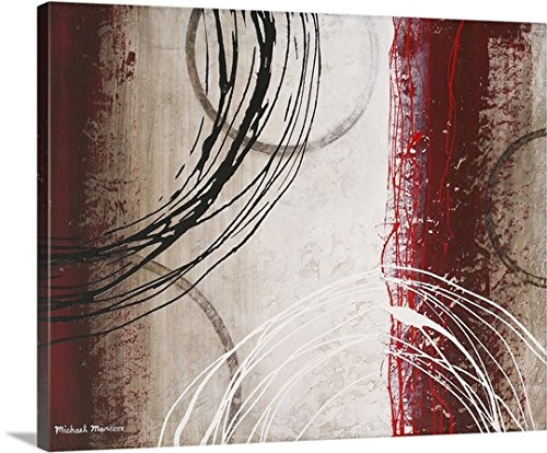 Burgundy Wall Decor - Michael Marcon Premium Thick-Wrap Canvas Wall Art Print entitled Tricolored Gestures I