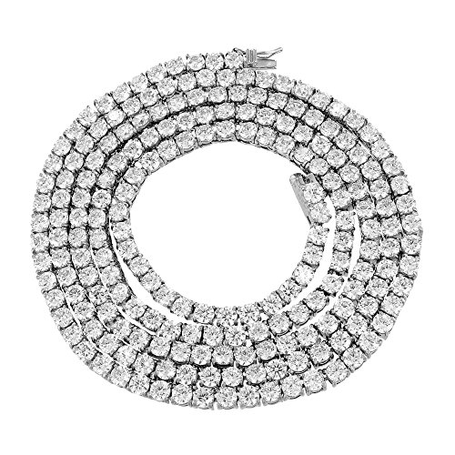 Or blanc Tennis Chaîne 1rangée 14K Finition en acier inoxydable 91,4cm Lab Diamant 4mm