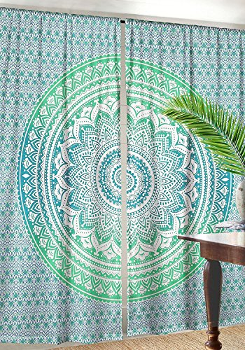 janki creation Exclusive Indian Green Ombre Tapestry Curtains Wall Hanging Tapestry Green Hippie Mandala Tapestry Curtains 82x82 Inches Sold by JANKICREATION
