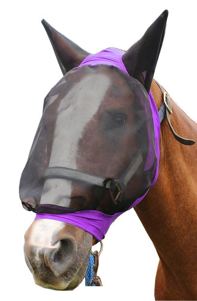 Derby Extra Comfort Lycra Grip Soft Mesh Horse Fly Mask with Ears - Horse and Mini Sizes - Three Fun Colors