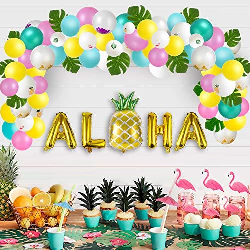 Luau Party Decorations (Luau Party Supplies - Hawaiian Decorations Set 96pcs Aloha Banner/Tropical Leaves/Confetti Balloon Arch/Drinking Straws - Flamingo Pineapple Summer Beach Pool)