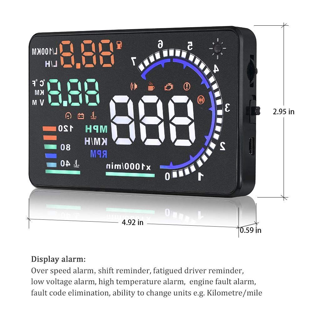 Trainshow A8 Head Up Display,5.5'' OBD II Car Windshield HUD with Speed Fatigue Warning RPM MPH Fuel Consumption Multiple-Color Bright Speeding Warning by Trainshow Online (Image #7)