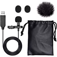 Clip on Lapel Microphone, SoulBay Lavalier Condenser Mic with TRS Audio Adapter for Laptop MacBook