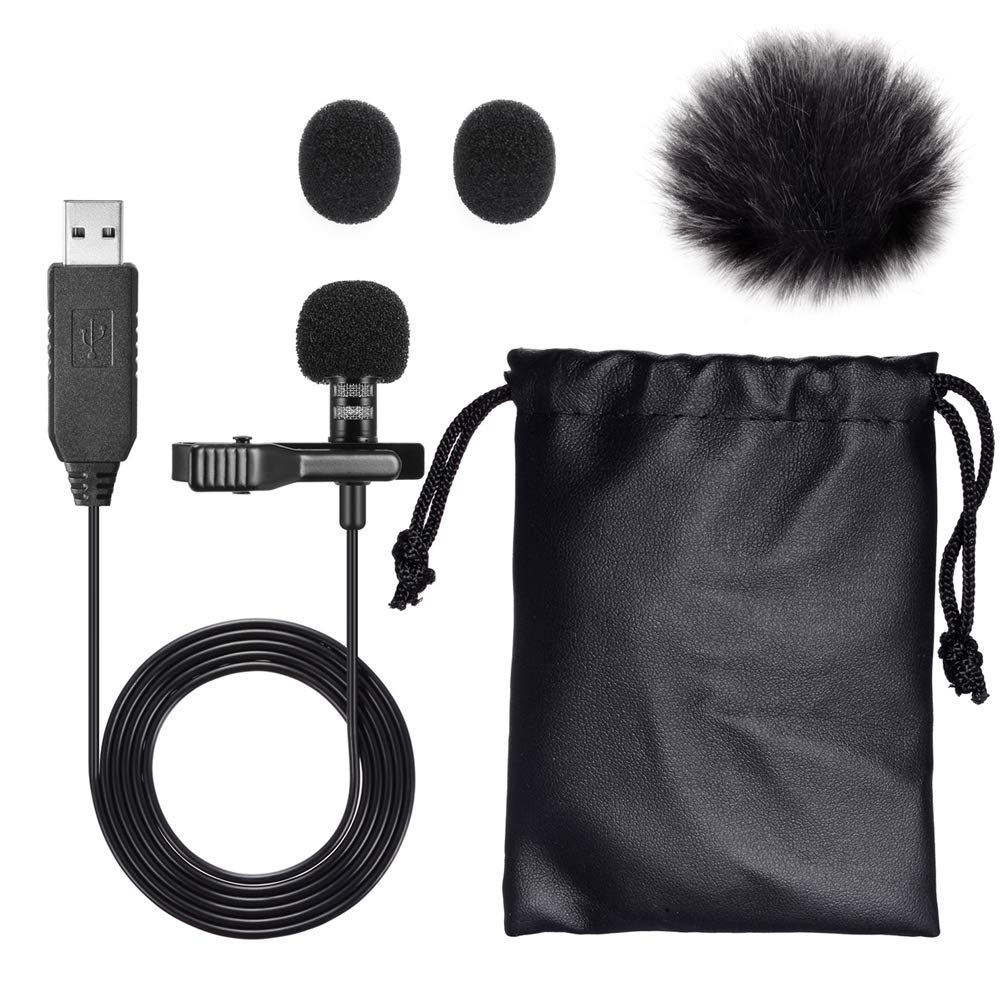 Mic for Computer, PChero USB Lavalier Clip-on Omnidirectional Condenser Microphone for Laptop PC MacBook, Perfect for Interviews, Skype, Audio Video YouTube Recording, QQ, MSN, Skypee, Podcast PC023-PNC-CA