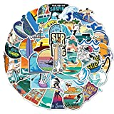 Minoly 50pcs Summer Beach Surfing Stickers for Surfboards, Skateboards, Hydro Flasks, Water Bottles, Laptop, Helmet, Phone, Guitar, Suitcase - Trendy Summer Stickers Pack - Beach Series (Color: Beach)