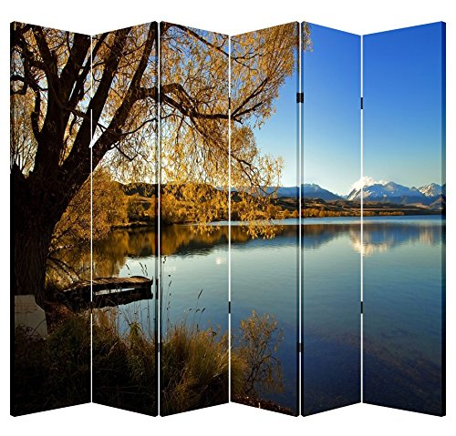 6 Panel Office Wood Folding Screen Decorative Canvas Privacy Partition Room Divider - Lakeside