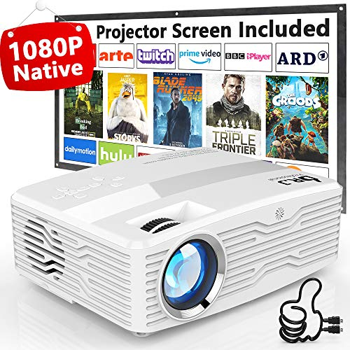 DR. J Professional Native 1080P LED Projector Full HD 6000 Lumens Projector with 300″ Display, Compatible with TV Stick, HDMI, AV, VGA, Smartphone for Christmas Decoration, [100Inch Screen Included]