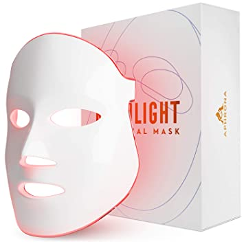 FDA cleared | Aphrona LED therapy device Facial Skin Care Mask -Blue & Red Light Treatment Photon Mask (White)