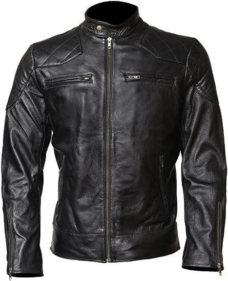 LJS Mens Cowhide Leather Jacket Inspired by David Beckham Black