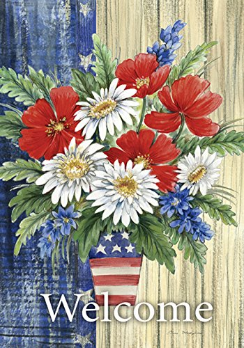Toland Home Garden Patriotic Bouquet 28 x 40 Inch Decorative Summer Flower Welcome Rustic Stars Stripes House Flag