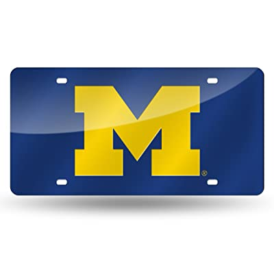NCAA Rico Industries Laser Inlaid Metal License Plate Tag, Michigan Wolverines: Sports & Outdoors
