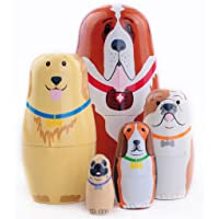 Moonmo 5pcs Cute Dog Handmade Wooden Russia Nesting Dolls Gift Russian Nesting Wishing Dolls Matryoshka Traditional
