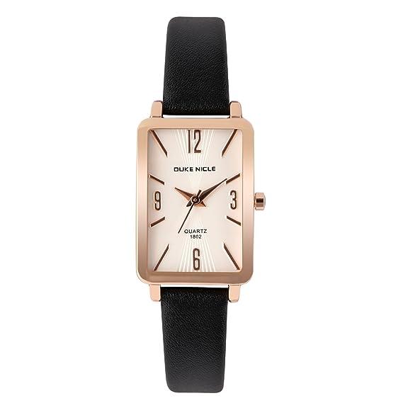 Reloj de Mujer,Rose Gold-Rectangular Estuche Casual Elegante Impermeable Relojes de Pulsera de