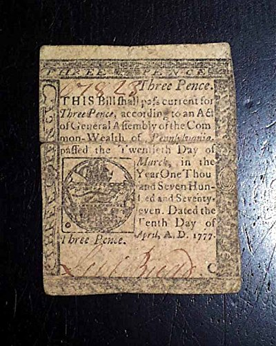 Rare 1777 CONTINENTAL John Dunlap PENSYLVANIA Paper Money Currency Three Pence Colonial currency: Pennsylvania, three pence note dated April 10, 17.