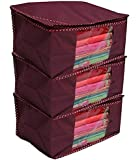 WEBBOONNon Wooven Saree Covers,Maroon (Pack 0f 3)