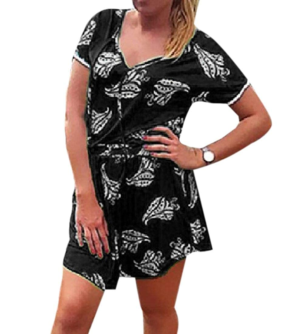 BLTR Women Irregular Floral Short Sleeve 2 Piece Set Tassels Tops Short Dresses