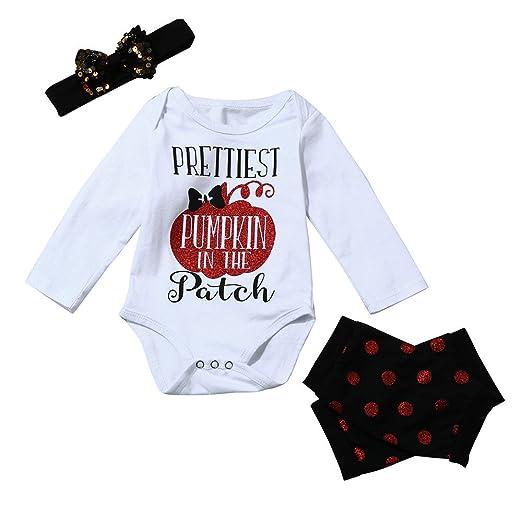 amazoncom halloween clothes sets for baby toddler girls cute 3pcs pumpkin letter romper topsheadbandleggingscotton blend clothing
