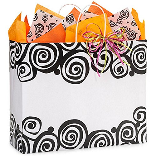 Bohemian Swirls Paper Shopping Bags - Vogue Size - 16 x 6 x 13in. - 250 Pack by NW