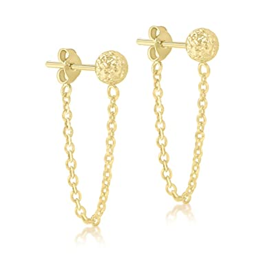 26fde397b Carissima Gold Women's 9 ct Yellow Gold 6 mm Diamond Cut Ball and Chain  Drop Earrings