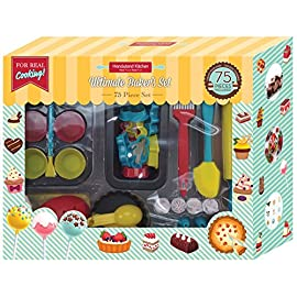 Handstand kitchen 75-piece ultimate real baking set with recipes for kids 1 the perfect set for every child that is ready to dive into the fun of real baking - the ultimate baking set for kids from handstand kitchen complete 75-piece set includes everything your child needs to create any baked delight that they can imageine make and beautifully decorate cake pops, cupcakes, cookies, quick bread and tarts - so many options in one box of fun