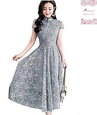 cee7a4a97e93f チャイナドレス ロングドレス ワンピース レディース レース 花柄 半袖 ふんわり 大きいサイズ マキシ丈 復古