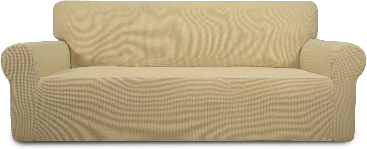 Easy-Going Stretch Sofa Slipcover 1-Piece Sofa Cover Furniture Protector Couch Soft with Elastic Bottom Anti-Slip Foam Kids, Spandex Jacquard Fabric Small Checks(Oversized Sofa,Beige)