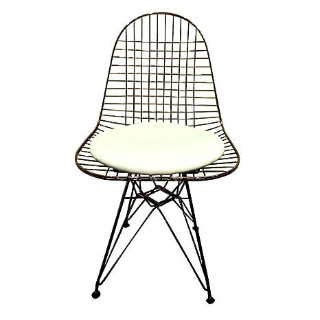 El Oro de los inventores Eiffel Wire Silla con cojín Blanco ...