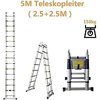 LINGJUN Échelle Télescopique Portable Échelle Extensible Se Pliant Polyvalent d'aluminium 2,5 m + 2,5 m pour Bibliothèque Entrepôt Supermarché Maison