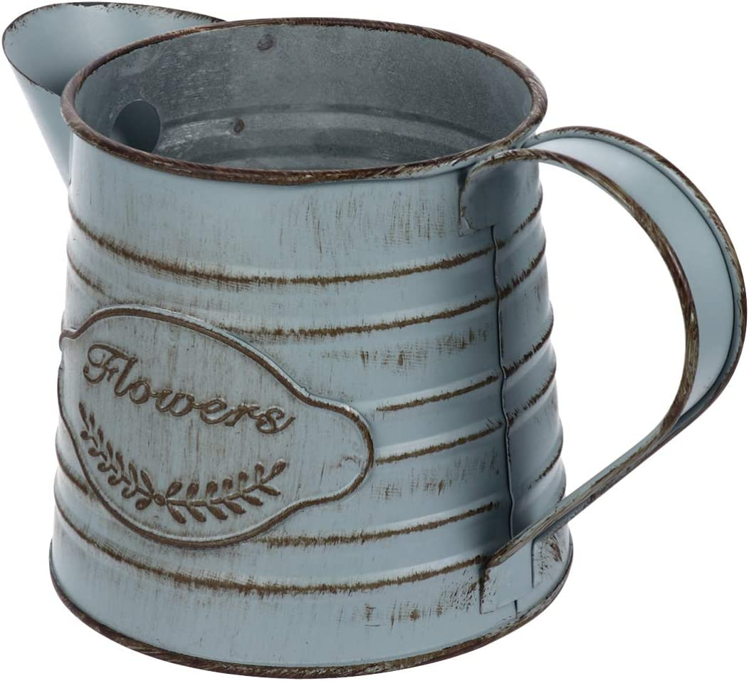 YARNOW Tinplate Flower Bucket Vintage Metal Farmhouse French Flower Vase Pitcher Holder Table Centerpiece for Succulents Floral Arrangement