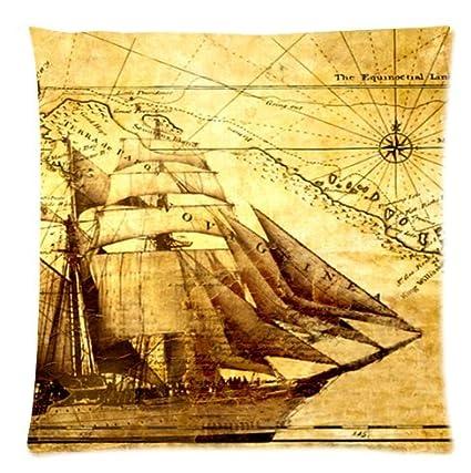 Custom de barco pirata y Retro Carta Náutica cuadrado funda ...