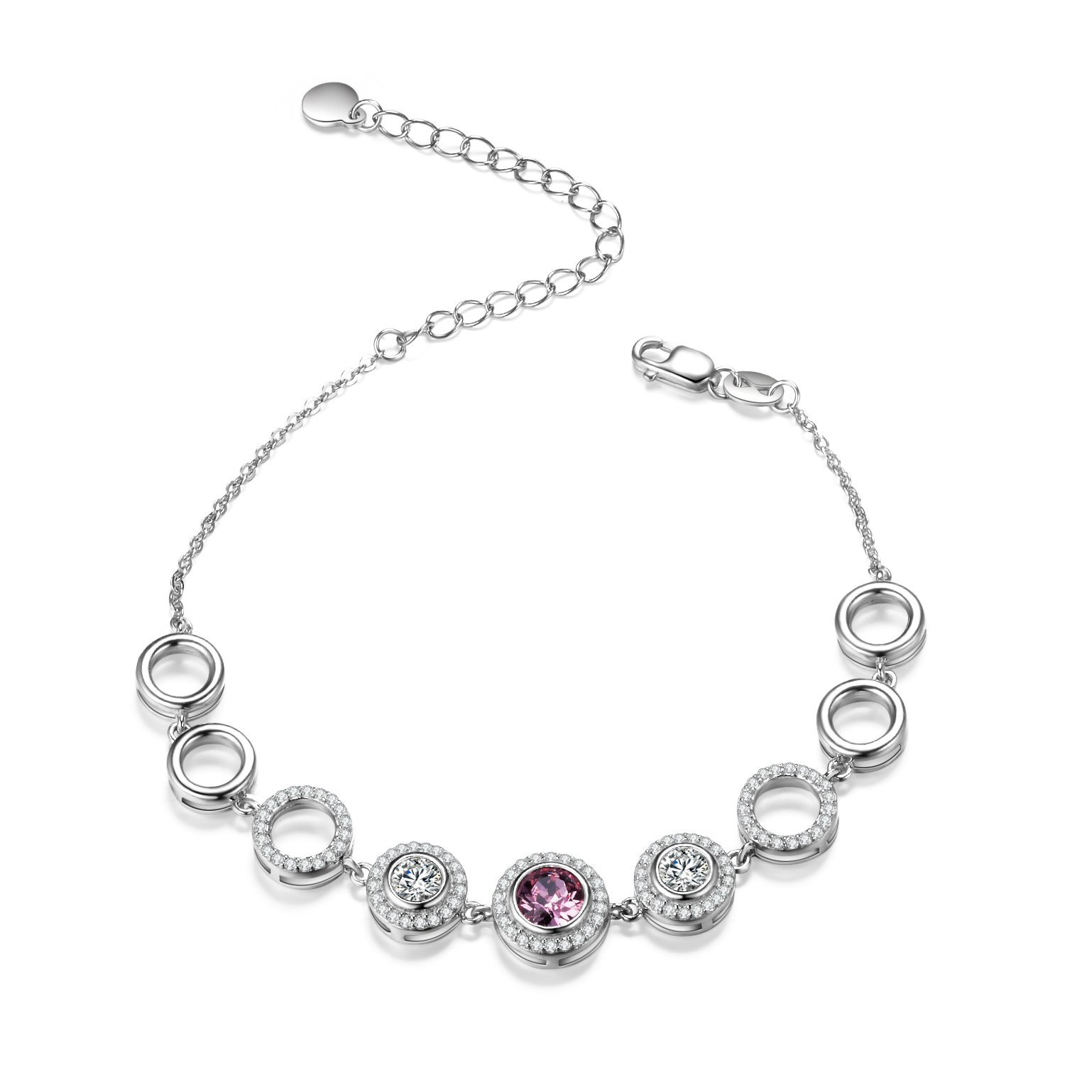 d4dfb8982 Amazon.com: AOBOCO Sterling Silver Circle Link Bracelet Red Round Crystals  Open Chain Adjustable Bracelets with Swarovski Crystal, Gorgeous Gift for  Women ...