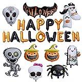 TOYMYTOY Giant Happy Halloween Letter Balloons Kit - Pumpkin, Dancing Skeleton, Ghost, Bat, Spider - Set of 10