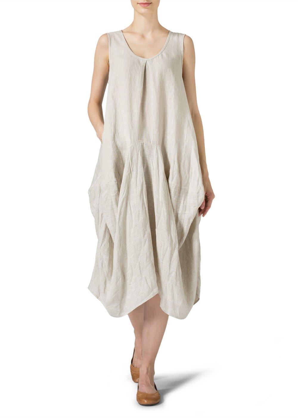 Vivid Linen Sleeveless Draped Dress-1X-Oat