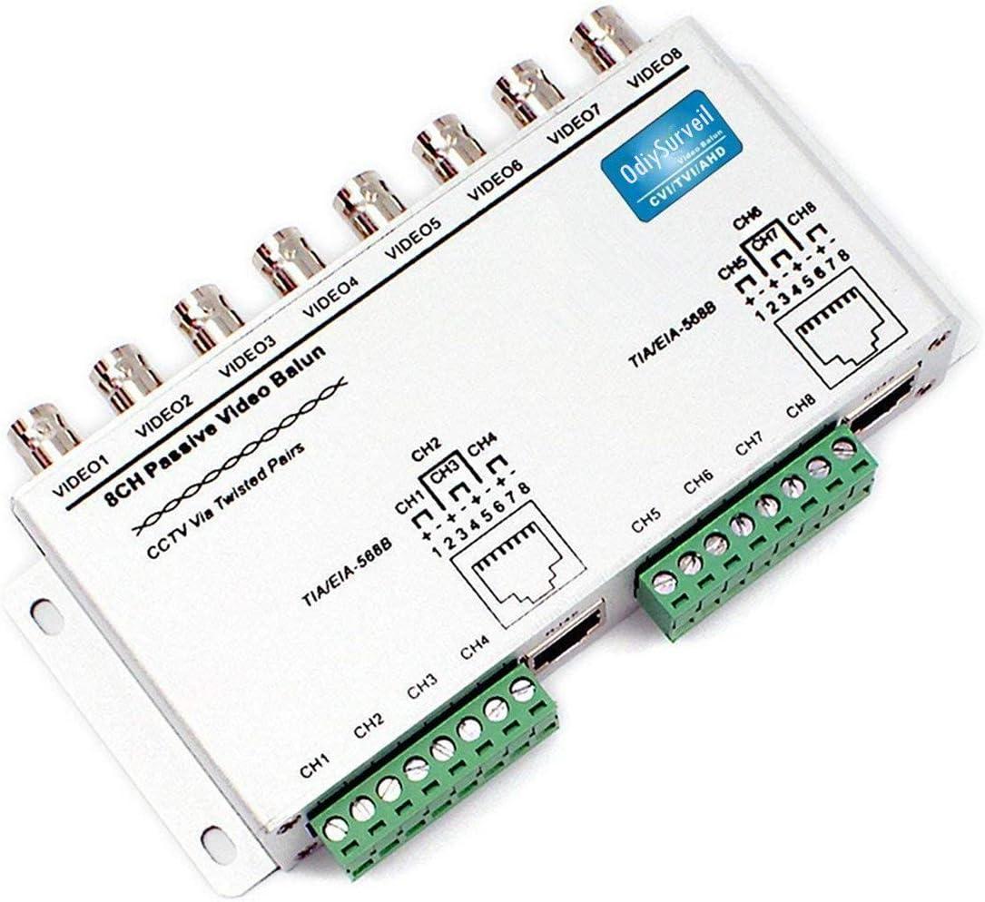 OdiySurveil(TM) 8 Channel RJ45 BNC Passive UTP Video Balun Transmit Transceiver for CCTV Camera DVR