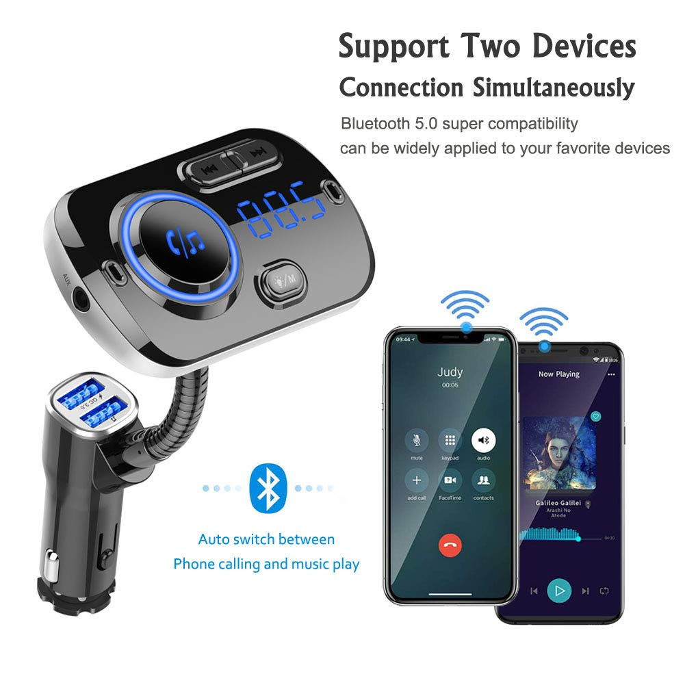 Bluetooth 5.0 FM Transmitter for Car Wireless FM Radio Adapter Car Kit Hands-Free Dual USB Ports with QC3.0 Support SIRI//Google Voice Assistant AUX Input//TF Card//USB Drive MP3 Player