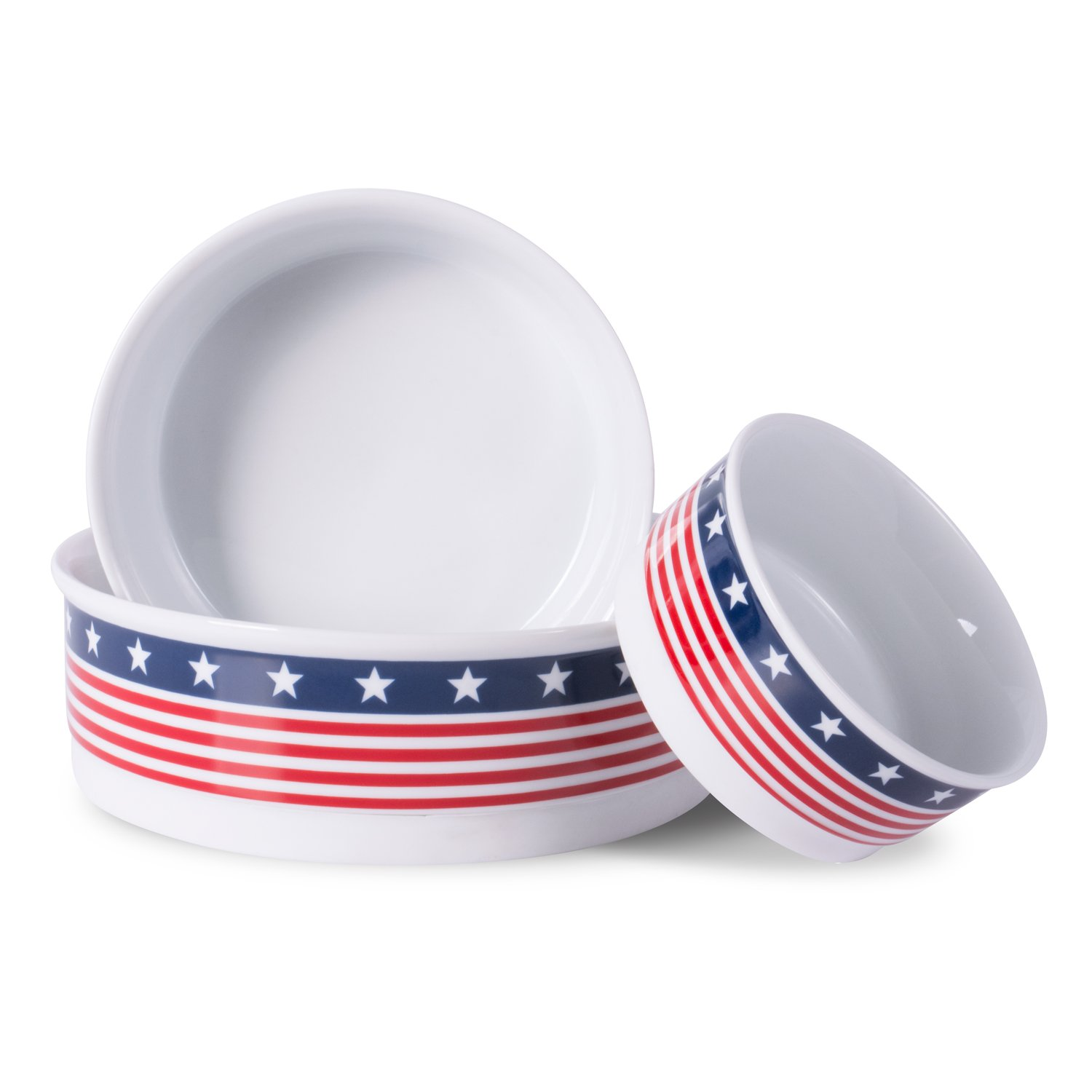 Bone Dry DII Patriotic Ceramic Pet Bowl for Food & Water with Non-Skid Silicone Rim for Dogs and Cats (Large - 7.5'' Dia x 4'' H) Stars and Stripes by Bone Dry (Image #6)
