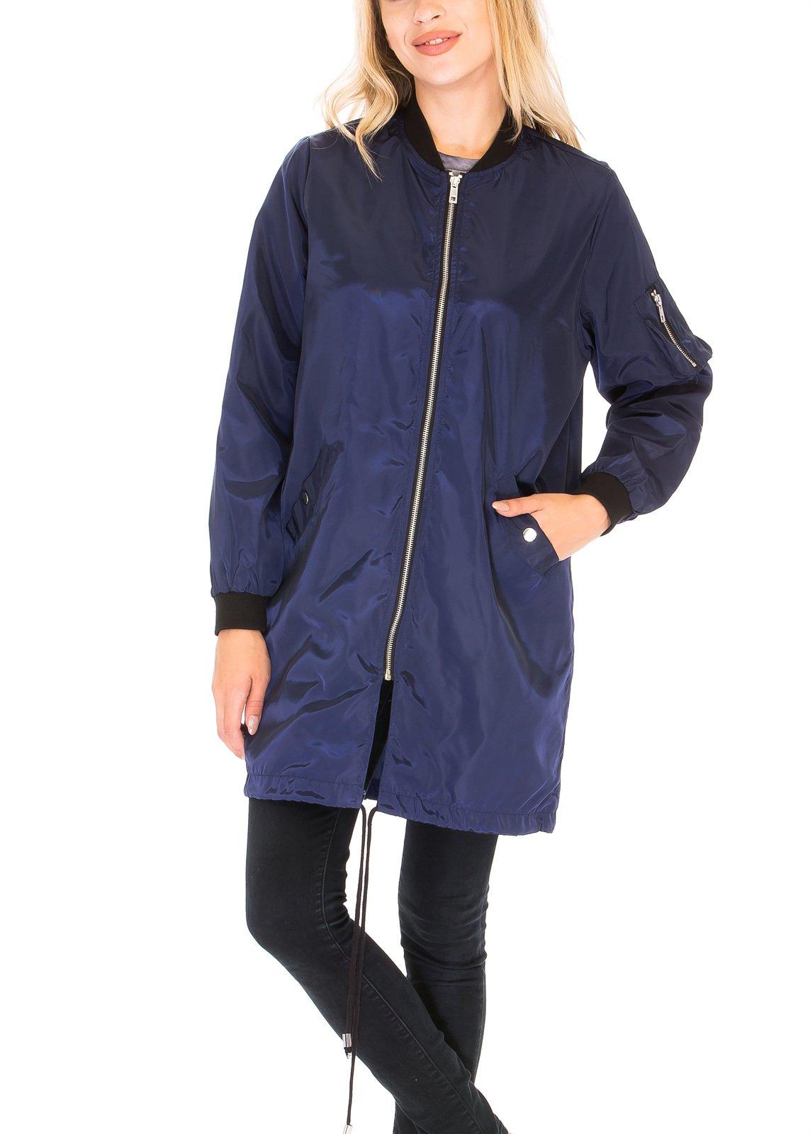 Luna Flower Women's Classic Long Coat Jacket-Zip Up Light Bomber Jackets Navy Medium (GJAW163)